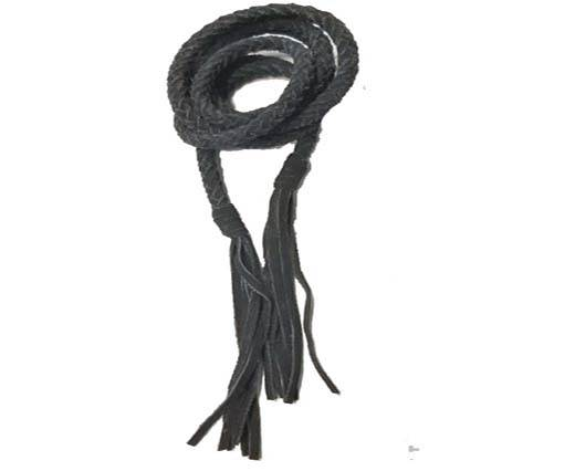 Suede Braided Belts with tassels - 8mm round -black