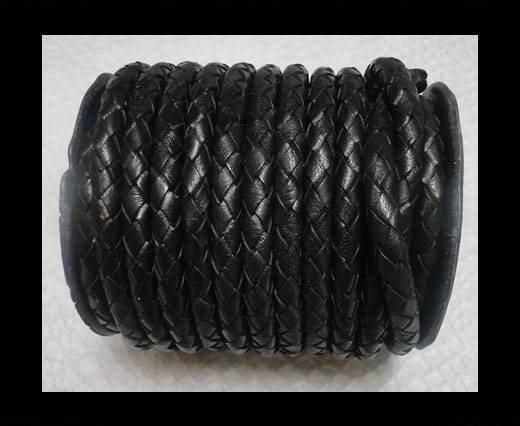Breided Leather Cord 8 mm Black
