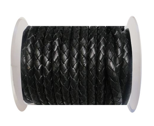 Round Braided Leather Cord SE/B/02-Black - 8mm