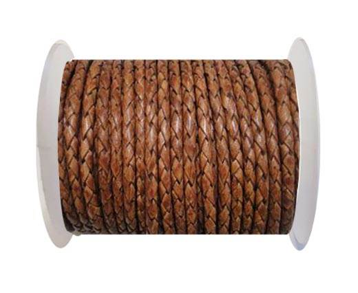 Breided Leather cord 4 mm Brown