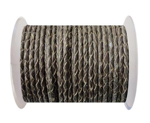 Round Braided Leather Cord SE/M/Bronze-6mm