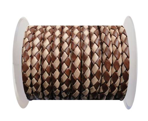 Round Braided Leather Cord SE/B/29-Brown-Natural - 5mm