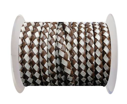 Round Braided Leather Cord SE/B/27-Brown-White - 5mm