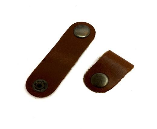 LEATHER BUTTON CLIP - BROWN