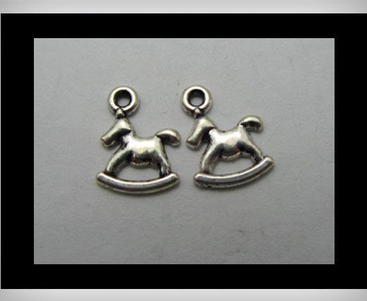 Zamak silver plated bead CA-3118