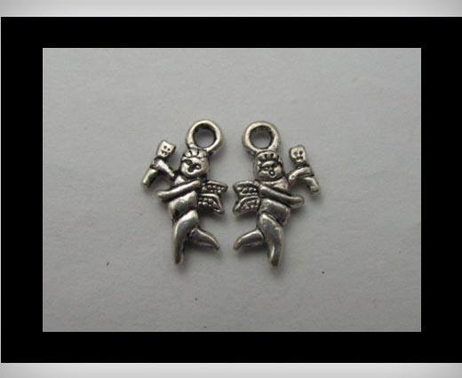 Zamak silver plated bead CA-3142