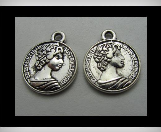 Zamak silver plated bead CA-3282