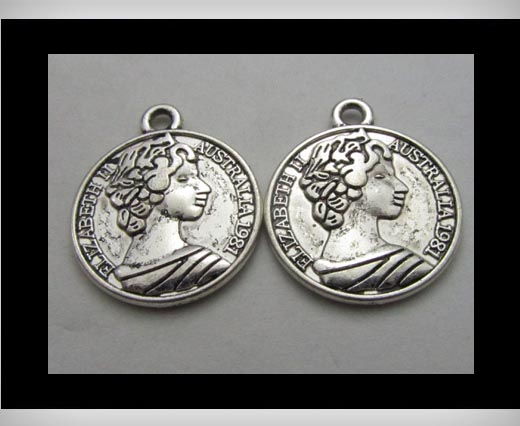 Zamak silver plated bead CA-3283
