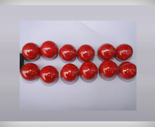 Buy Ceramic Beads-16mm-Red at wholesale prices