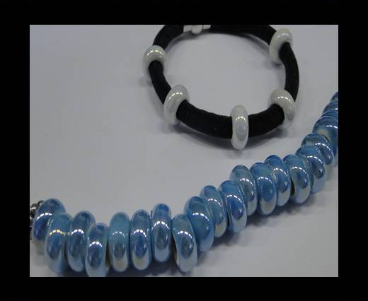 Ceramic beads with hole 6mm style 1- Turquoise AB