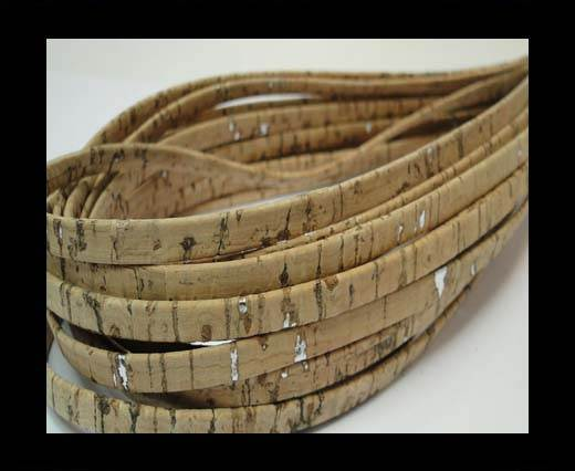 Cork Flat-5mm-Natural with silver glitter