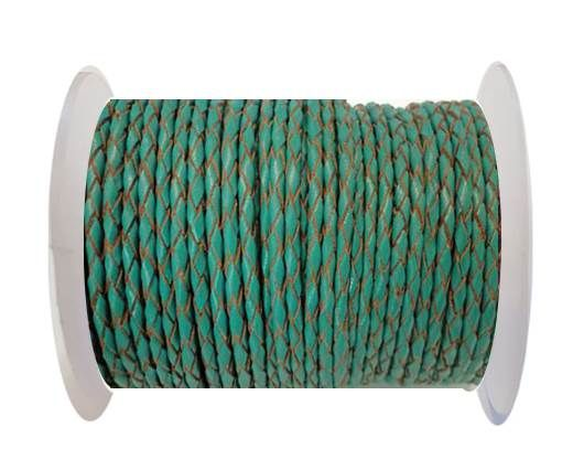 Round Braided Leather Cord SE/B/2007-Sea blue - 3mm