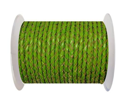 Round Braided Leather Cord SE/B/2009-Green Grass - 3mm