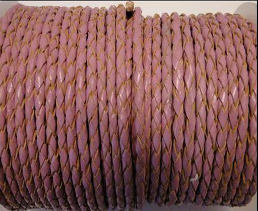Round Braided Leather Cord SE/B/2014-Pink - 5mm