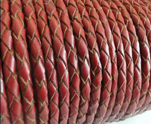 Round Braided Leather Cord SE/B/2021-Red Wine-3mm