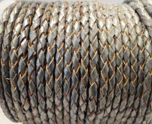 Round Braided Leather Cord SE/B/2026-Dark Grey - 3mm