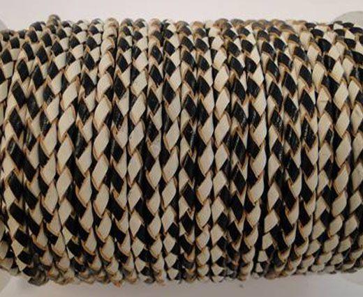 Round Braided Leather Cord SE/B/21-Black-White - 3mm