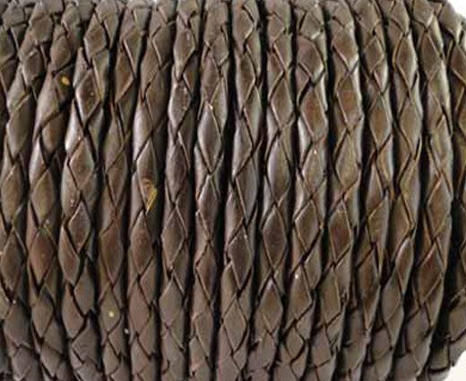 Buy Round Braided Leather Cord SE/B/03-Dark Brown - 3mm at wholesale price