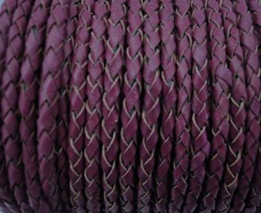 Round Braided Leather Cord SE/B/543-Plum - 3mm