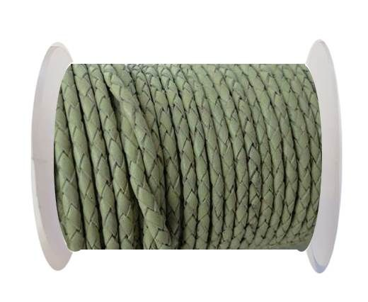 Round Braided Leather Cord SE/B/716-Pastel Lime-3mm