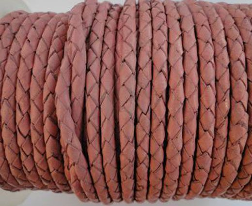 Round Braided Leather Cord SE/B/722-Rose - 5mm