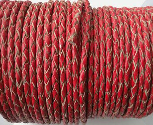 Buy Round Braided Leather Cord SE/B/06-Red-natural edges - 3mm at wholesale price