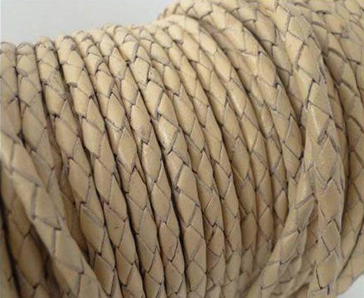 Round Braided Leather Cord SE/B/727-Beige-5mm