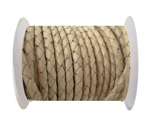 Round Braided Leather Cord SE/B/727-Beige-3mm