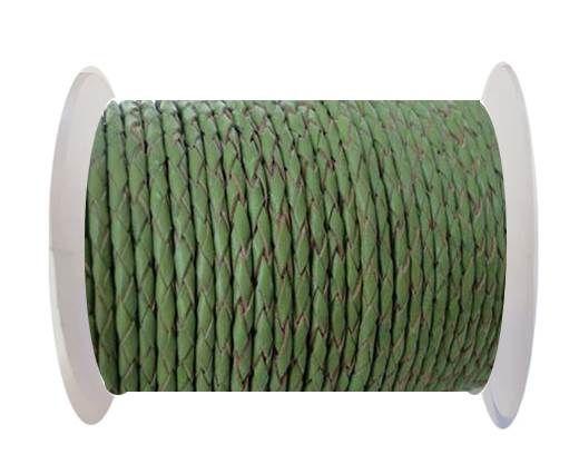 Round Braided Leather Cord SE/B/730-Green Tea - 3mm