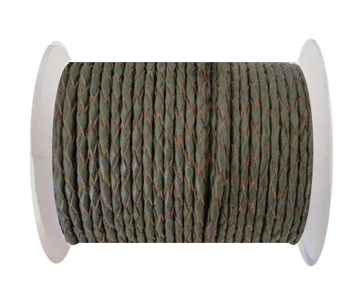 Round Braided Leather Cord SE/B/Khakhi-natural edges-3mm
