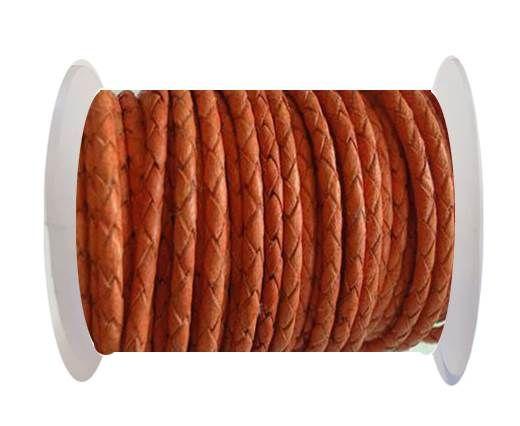 Round Braided Leather Cord SE/B/Neon Orange-3mm