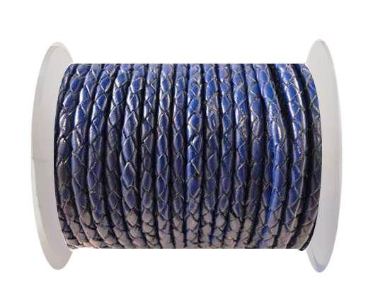 Round Braided Leather Cord SE/Dark Blue - 3mm
