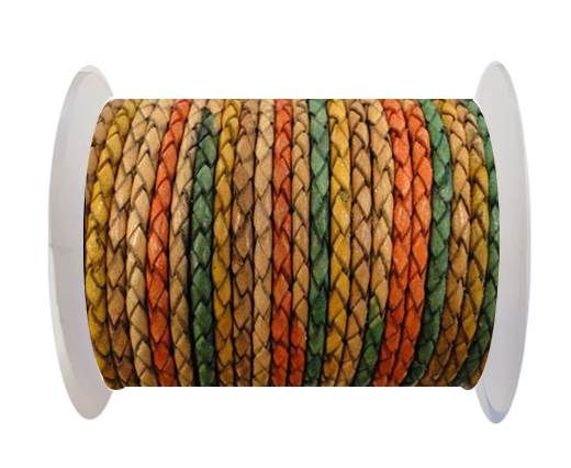 Round Braided Leather Cord SE/DM/02-Sunrise - 3mm