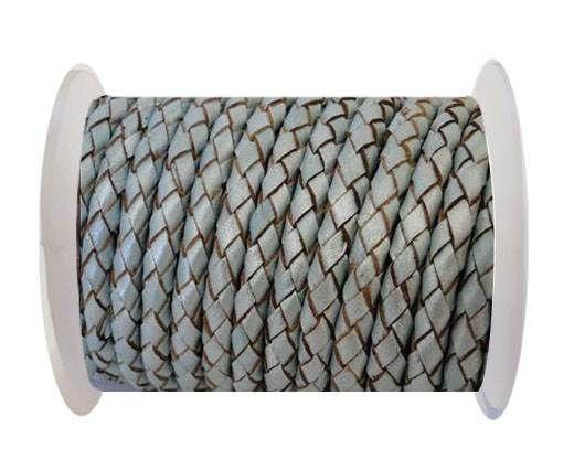 Round Braided Leather Cord SE/M/14-Metallic Baby blue - 3mm