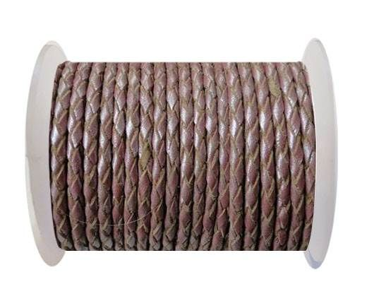Round Braided Leather Cord SE/M/15-Metallic Plum-3mm