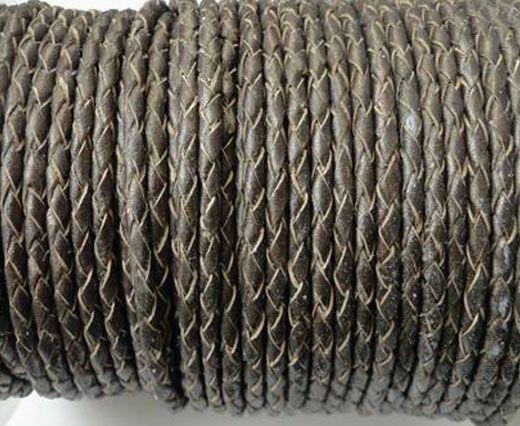 Round Braided Leather Cord SE/M/Bronze-3mm