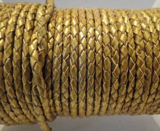 Round Braided Leather Cord SE/M/Golden - 3mm