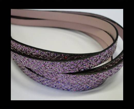 Eco Glitter Leather - Purple -Glitter Style -10mm