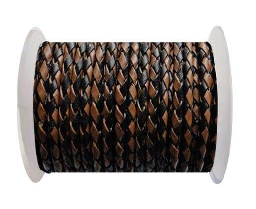 Round Braided Leather Cord SE/B/26-Black-Brown - 8mm