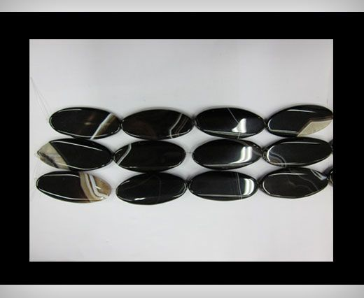 Black Line Oblong Flat Agate NS-067