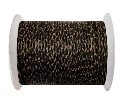 Round Braided Leather Cord SE/R/02-Black-natural edges - 5mm