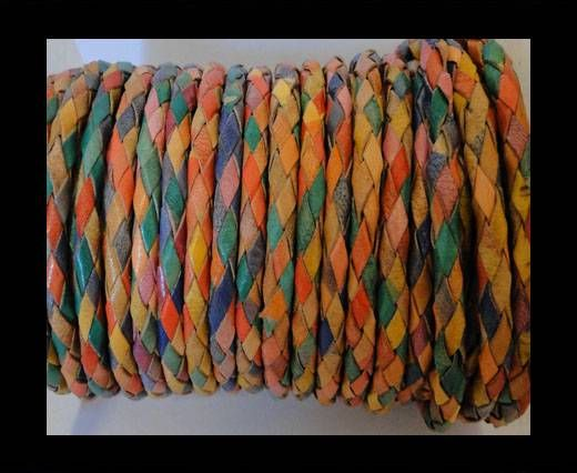 Round Braided Leather Cord SE/MD/01-multicoloured - 3mm