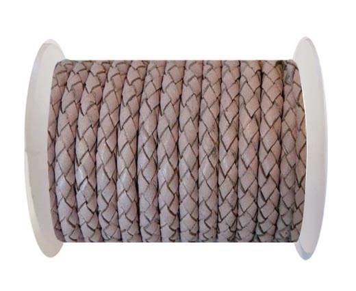 Round Braided Leather Cord SE/B/2033-Baby Pink - 4mm