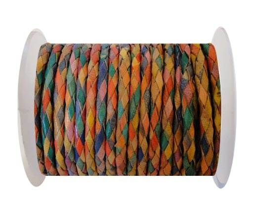Round Braided Leather Cord SE/MD/01-multicoloured - 4mm