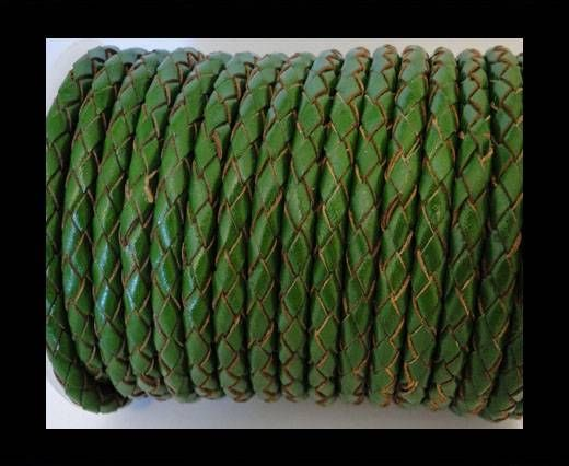 Round Braided Leather Cord SE/B/2025-Fern - 6mm