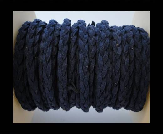 Braided Suede Cords -Blue-5mm