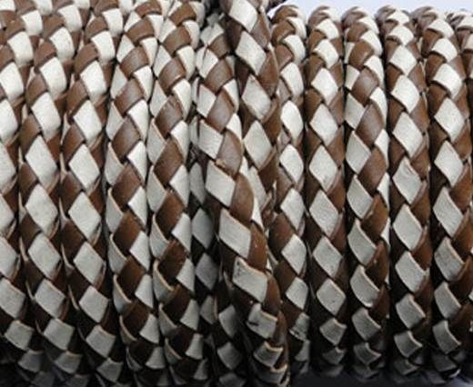 Round Braided Leather Cord SE/B/27-Brown-White - 6mm