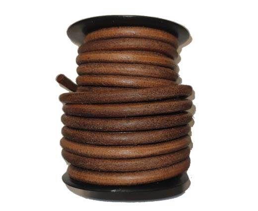 Round leather Cords - 6mm - Dark Natural