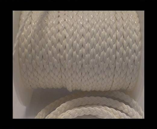 Eco-Flat braided leather-5mm-White