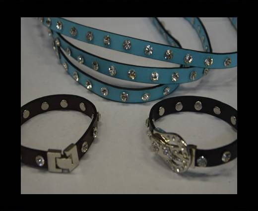 Eco Leather with Crystal 10mm-Blue